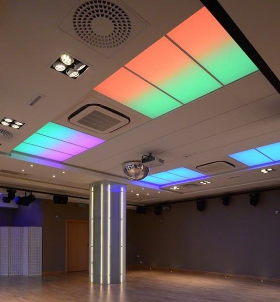 Oświetlenie Barrisol w sali bankietowej Velvet w Suwałkach przy współpracy z p. Andrzejem Poczobutem AGI